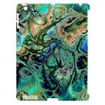 Fractal Batik Art Teal Turquoise Salmon Apple iPad 3/4 Hardshell Case (Compatible with Smart Cover)