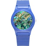 Fractal Batik Art Teal Turquoise Salmon Round Plastic Sport Watch (S)