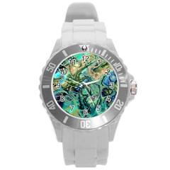 Fractal Batik Art Teal Turquoise Salmon Round Plastic Sport Watch (l) by EDDArt