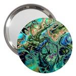 Fractal Batik Art Teal Turquoise Salmon 3  Handbag Mirrors