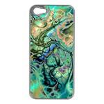 Fractal Batik Art Teal Turquoise Salmon Apple iPhone 5 Case (Silver)