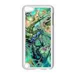 Fractal Batik Art Teal Turquoise Salmon Apple iPod Touch 5 Case (White)