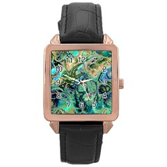 Fractal Batik Art Teal Turquoise Salmon Rose Gold Leather Watch  by EDDArt