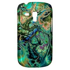 Fractal Batik Art Teal Turquoise Salmon Samsung Galaxy S3 Mini I8190 Hardshell Case by EDDArt