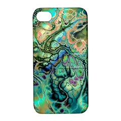 Fractal Batik Art Teal Turquoise Salmon Apple Iphone 4/4s Hardshell Case With Stand by EDDArt