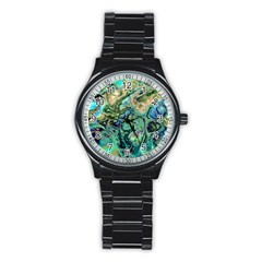 Fractal Batik Art Teal Turquoise Salmon Stainless Steel Round Watch by EDDArt
