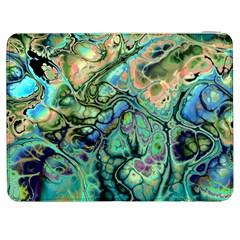 Fractal Batik Art Teal Turquoise Salmon Samsung Galaxy Tab 7  P1000 Flip Case by EDDArt