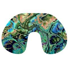 Fractal Batik Art Teal Turquoise Salmon Travel Neck Pillows by EDDArt
