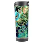 Fractal Batik Art Teal Turquoise Salmon Travel Tumbler