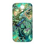 Fractal Batik Art Teal Turquoise Salmon Samsung Galaxy S4 I9500/I9505  Hardshell Back Case