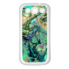 Fractal Batik Art Teal Turquoise Salmon Samsung Galaxy S3 Back Case (white) by EDDArt