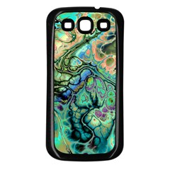 Fractal Batik Art Teal Turquoise Salmon Samsung Galaxy S3 Back Case (black) by EDDArt