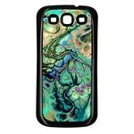 Fractal Batik Art Teal Turquoise Salmon Samsung Galaxy S3 Back Case (Black)
