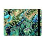 Fractal Batik Art Teal Turquoise Salmon iPad Mini 2 Flip Cases