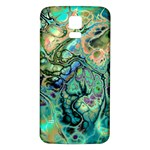 Fractal Batik Art Teal Turquoise Salmon Samsung Galaxy S5 Back Case (White)
