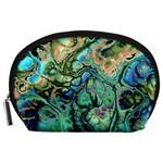 Fractal Batik Art Teal Turquoise Salmon Accessory Pouches (Large)