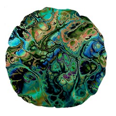 Fractal Batik Art Teal Turquoise Salmon Large 18  Premium Flano Round Cushions by EDDArt