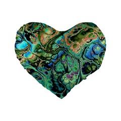 Fractal Batik Art Teal Turquoise Salmon Standard 16  Premium Flano Heart Shape Cushions by EDDArt