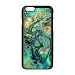 Fractal Batik Art Teal Turquoise Salmon Apple iPhone 6/6S Black Enamel Case