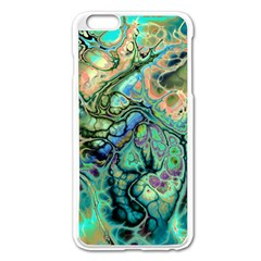 Fractal Batik Art Teal Turquoise Salmon Apple Iphone 6 Plus/6s Plus Enamel White Case by EDDArt