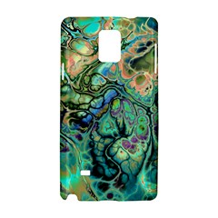 Fractal Batik Art Teal Turquoise Salmon Samsung Galaxy Note 4 Hardshell Case by EDDArt