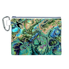Fractal Batik Art Teal Turquoise Salmon Canvas Cosmetic Bag (l) by EDDArt