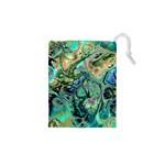 Fractal Batik Art Teal Turquoise Salmon Drawstring Pouches (XS)