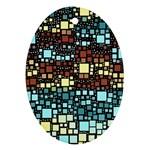 Block On Block, Aqua Ornament (Oval)