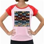 Block On Block, Aqua Women s Cap Sleeve T-Shirt