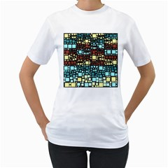 Block On Block, Aqua Women s T Shirt (white) (two Sided) by MoreColorsinLife