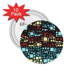 Block On Block, Aqua 2 25  Buttons (10 Pack)  by MoreColorsinLife