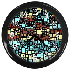 Block On Block, Aqua Wall Clocks (black) by MoreColorsinLife