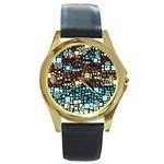 Block On Block, Aqua Round Gold Metal Watch