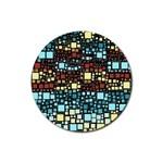 Block On Block, Aqua Rubber Round Coaster (4 pack)