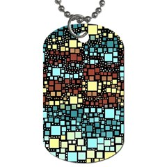 Block On Block, Aqua Dog Tag (two Sides) by MoreColorsinLife