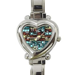Block On Block, Aqua Heart Italian Charm Watch by MoreColorsinLife