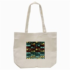 Block On Block, Aqua Tote Bag (cream) by MoreColorsinLife