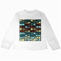 Block On Block, Aqua Kids Long Sleeve T Shirts by MoreColorsinLife