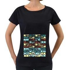 Block On Block, Aqua Women s Loose Fit T Shirt (black) by MoreColorsinLife