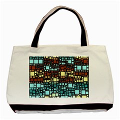 Block On Block, Aqua Basic Tote Bag by MoreColorsinLife
