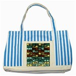 Block On Block, Aqua Striped Blue Tote Bag