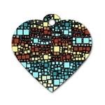 Block On Block, Aqua Dog Tag Heart (One Side)