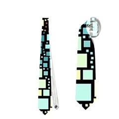 Block On Block, Aqua Neckties (one Side)  by MoreColorsinLife