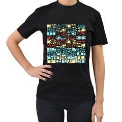 Block On Block, Aqua Women s T Shirt (black) by MoreColorsinLife