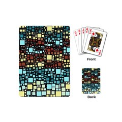 Block On Block, Aqua Playing Cards (mini)  by MoreColorsinLife