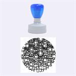 Block On Block, Aqua Rubber Round Stamps (Medium)