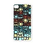 Block On Block, Aqua Apple iPhone 4 Case (White)