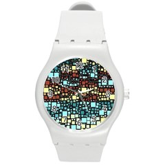 Block On Block, Aqua Round Plastic Sport Watch (m) by MoreColorsinLife