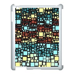Block On Block, Aqua Apple Ipad 3/4 Case (white) by MoreColorsinLife
