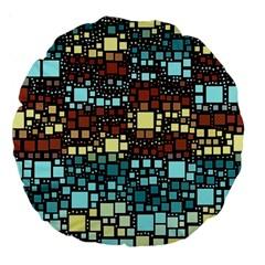 Block On Block, Aqua Large 18  Premium Round Cushions by MoreColorsinLife